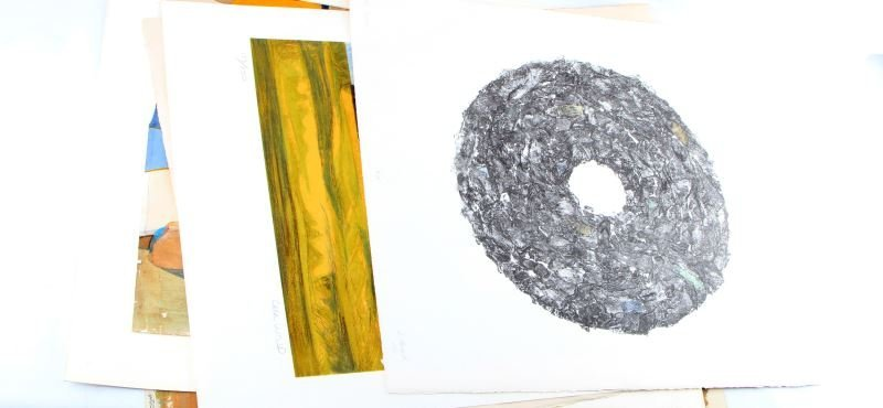 GROUP OF 5 ORIGINAL MIXED LITHOGRAPHS PAINTINGS