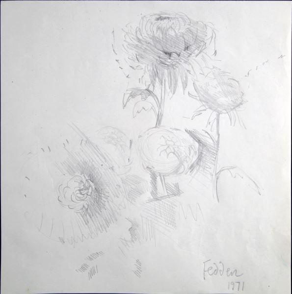 MARY FEDDEN FLOWER PENCIL SKETCH 1971