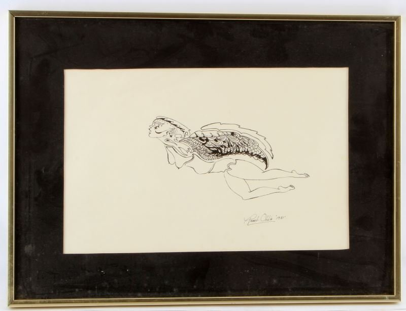 PEARL OLLIE SIGNED 1981 INK ON PAPER DRAWING
