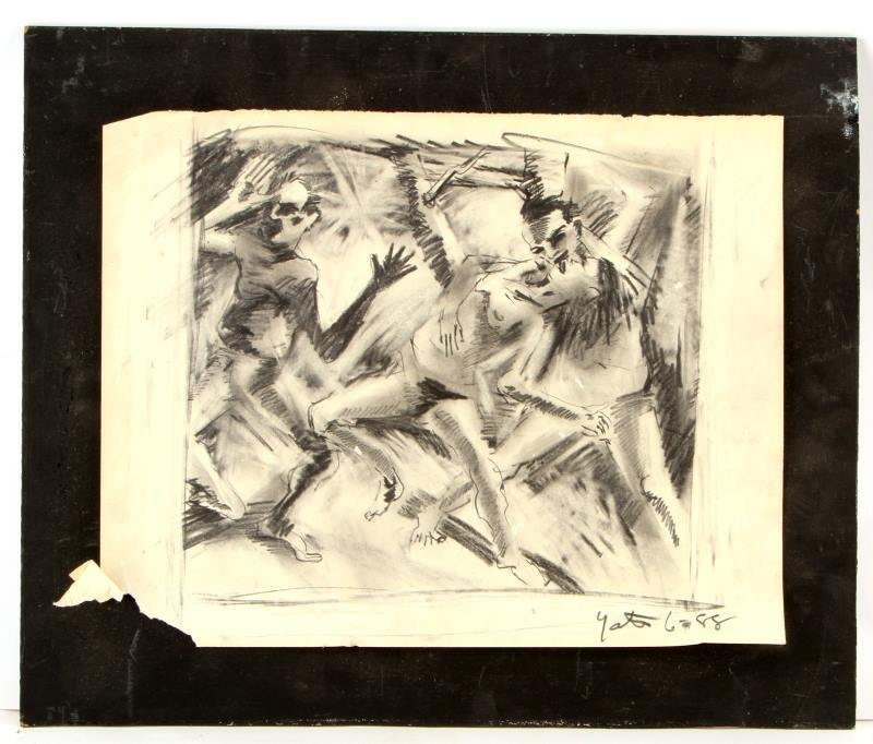 A SIGNED AND DATED PENCIL ON PAPER DRAWING