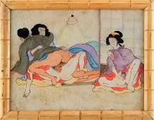 20TH C JAPANESE SHUNGA EROTIC PAINTING ON SILK