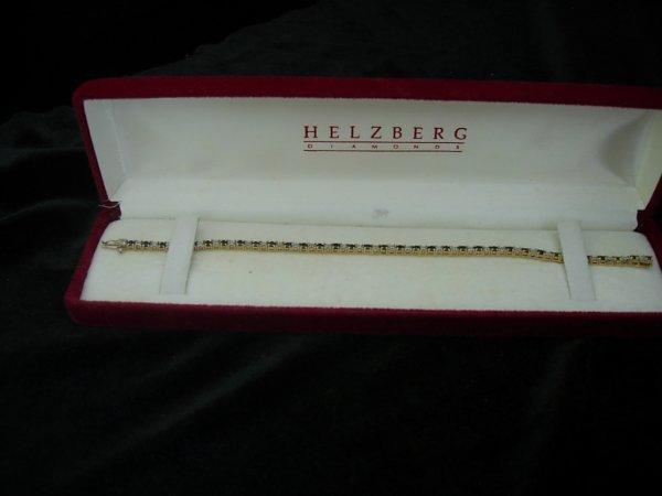 1: 14K GOLD SAPPHIRE  DIAMOND TENNIS BRACELET SAPPHIRE