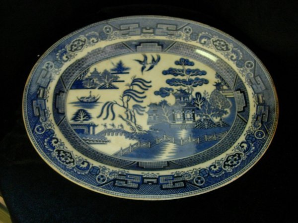 8: STAFFORDSHIRE FLOW BLUE POTTERY PLATTER LARGE STAFFO