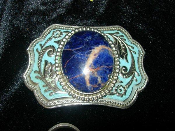 9:  SILVER BELT BUCKLE W LARGE BLUE LAPIS STONE W EMBOS