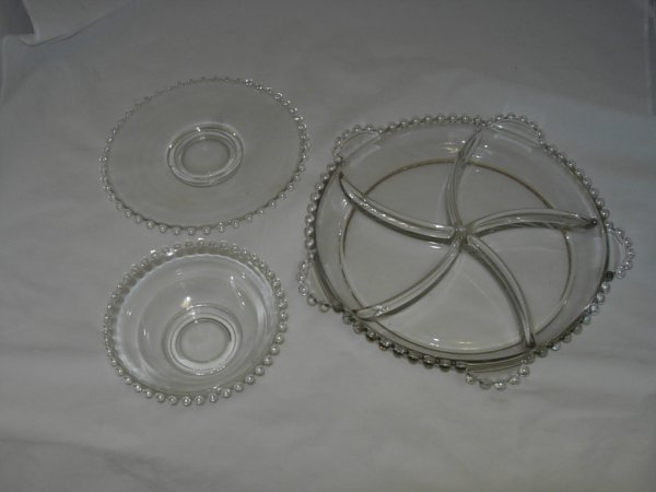 10: CANDLEWICK LOT OF 4  SERVER BOWL PLATE DISH CANDLEW