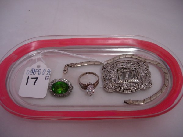 17: ANTIQUE STERLING SILVER JEWELRY LOT OF 4 MARCASITE