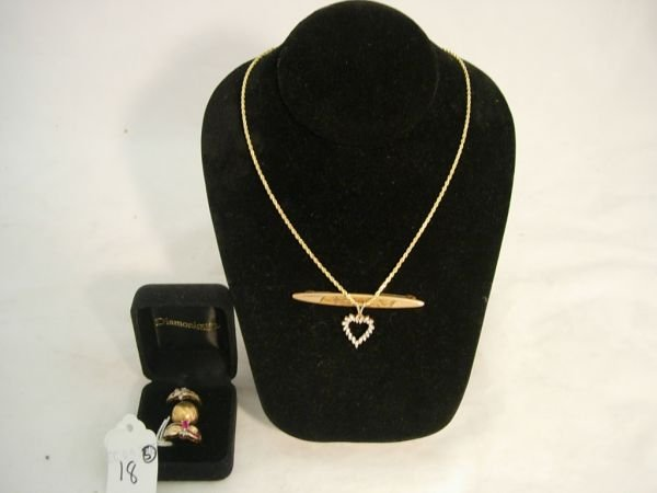 18: GOLD JEWELRY ANTIQUE LOT BAR PIN 2 RING NECKLACE 19