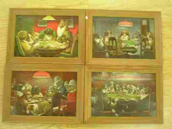 CM COOLIDGE PRINT LOT OF 4 DOGS PLAYING POKER FOUR