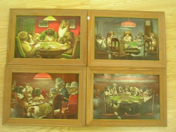 23: CM COOLIDGE PRINT LOT OF 4 DOGS PLAYING POKER FOUR