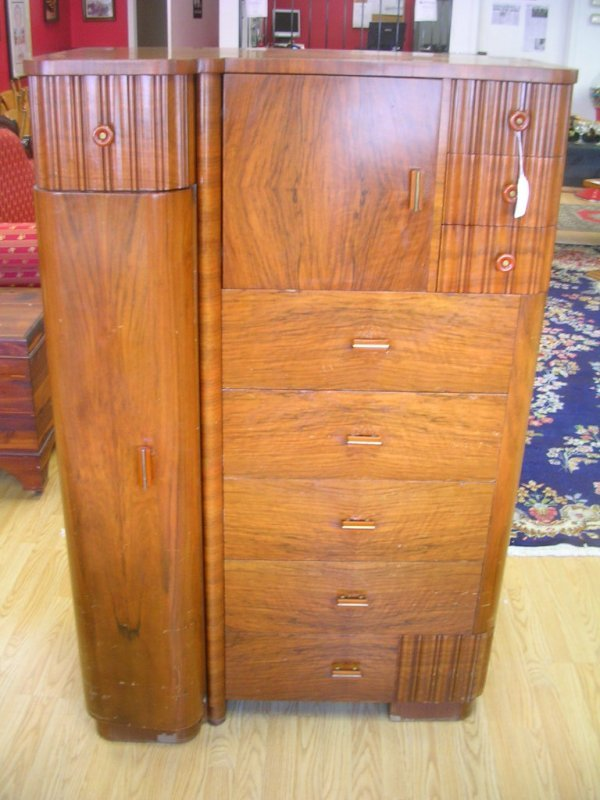 257: AMERICAN ART DECO HIGHBOY CHEST OF DRAWERS MAPLE A