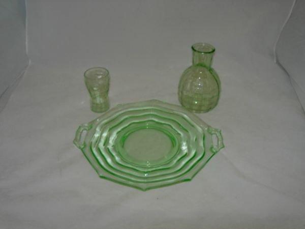 267: ANTIQUE VASELINE GLASS LOT OF 3 HANDLED OCTAGON PL