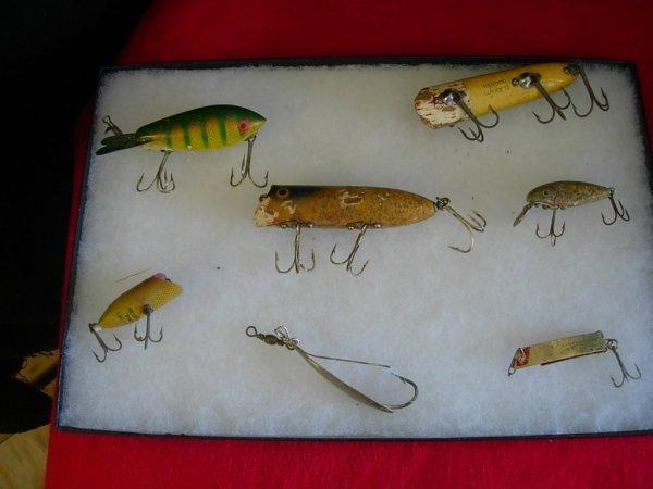 274: ANTIQUE FISHING LURE LOT OF 6 HEDDON CISCO K10 HED