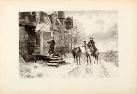 """Antique Etching 1890s The Deserted Inn 12"""" X 17"""""""