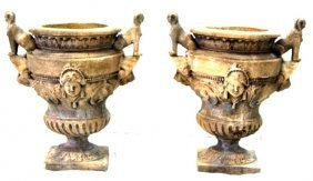 Pair Of Concrete Classical Garden Urn Planters