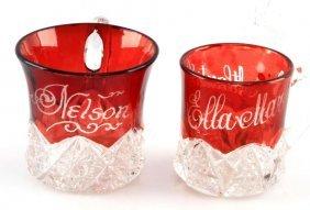 Pair Of Ruby Glass Atlantic City Souvenir Mugs