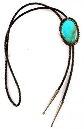 Mens Navajo Turquoise & Silver Bolo Tie