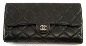 Chanel Black Quilted Lambskin Leather Flap Wallet