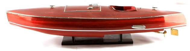 VINTAGE RED WOOD MODEL SPEED BOAT 26 INCHES LONG