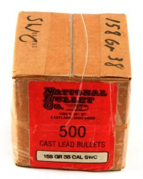 National Bullet Co. 500 Cast Lead Ammo .38 Cal Swc