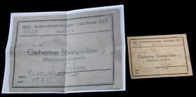 Wwii Auschwitz Gestapo Prisoner Document