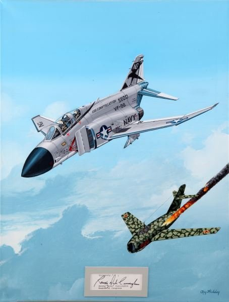 F-4 PHANTOM II RAY WADDEY SIGNED PAINTING 18 BY 24