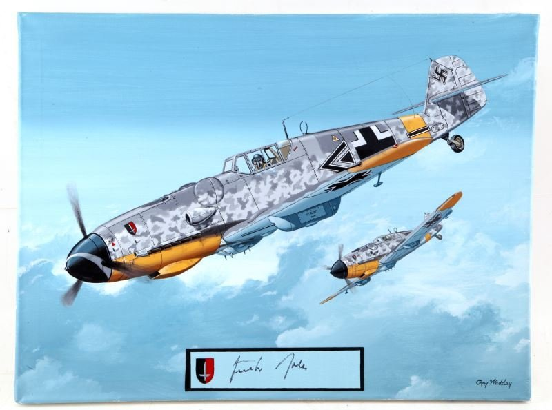 BF-109 GUNTHER RALLS AUTOGRAPHED RAY WADDEY ART