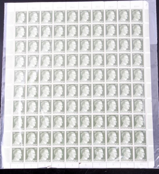 WWII GERMAN THIRD REICH STAMP SHEET LOT OF TWO