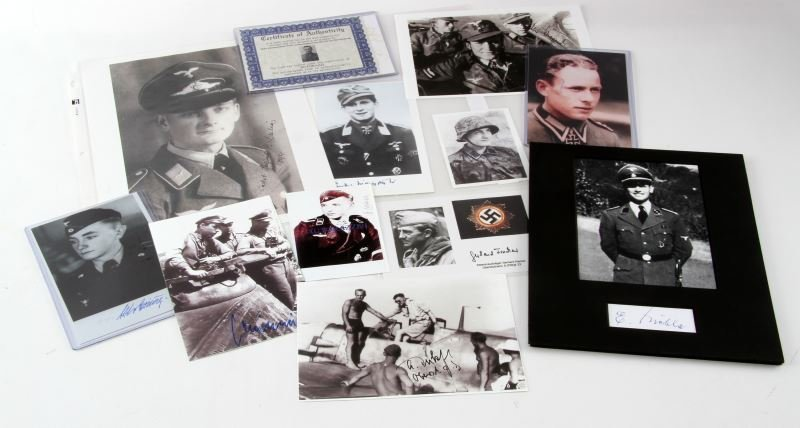 13 AUTOGRAPHED PHOTOS OF WWII GERMAN WAR HEROES