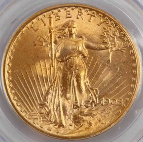 1908 St Gaudens Double Eagle No Motto Gold Coin