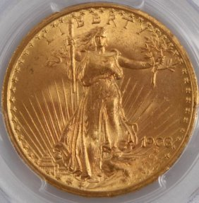 1908 $20 Saint Gaudens Ms65 No Motto Gold Coin