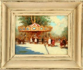 Andre Gisson (1921-2003) Carousel Painting 12 X 9