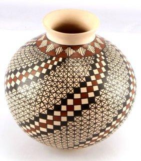 Polychrome Acoma Pueblo Pottery Seed Vase Pot