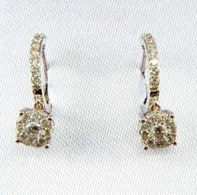 Ladies 14kt White Gold Diamond Earrings 2/3 Ctw