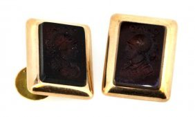 Mens Vintage 14kt Rose Gold Intaglio Cufflinks