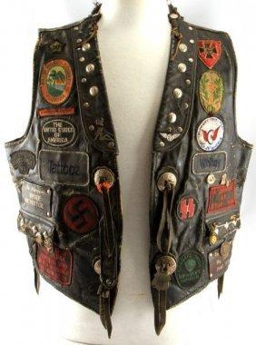 Leather Bikers Cut Vest W/ Studs & Color Patches