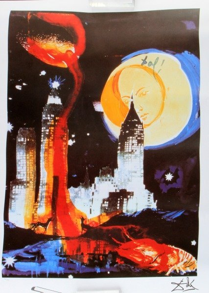 "SALVADOR DALI ""MANHATTAN SKYLINE"" LE LITHOGRAPH"