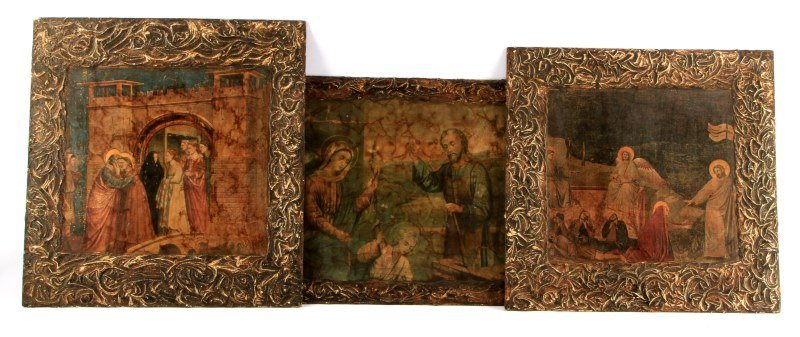 THREE CHRISTIAN ICON REPRODUCTIONS ON BOARD
