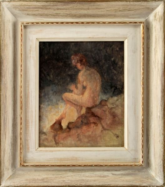 FEMALE NUDE PAINTING ON BOARD WHITE FRAME