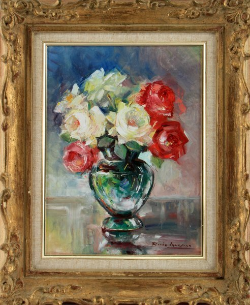 FLOWERS IN VASE STILL LIFE ACRYLIC ON BOARD SIGNED