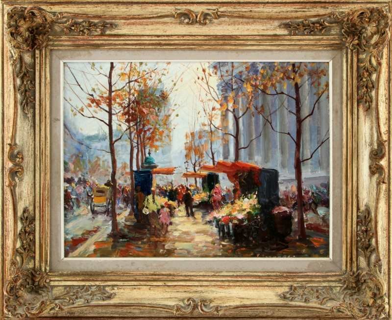 OIL ON CANVAS PAINTING FALL DAY MARKET SIGNED