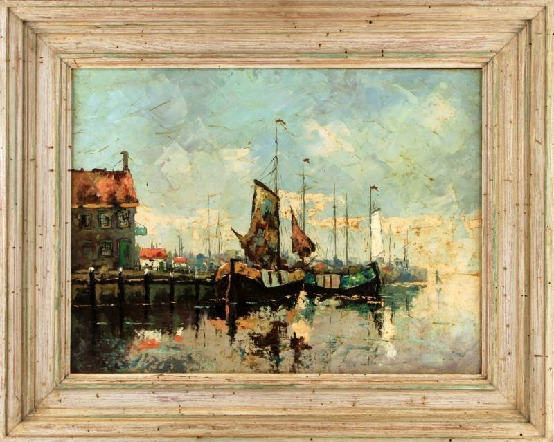 ORIGINAL OIL ON BOARD PORT HARBOR SCENE SIGNED