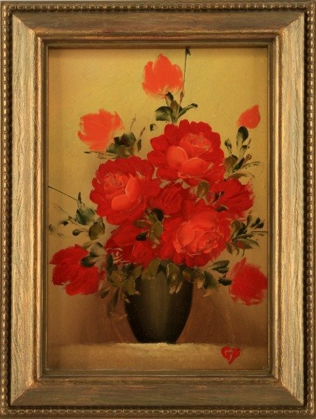 "SMALL OIL ON BOARD STILL LIFE PAINTING SIGNED ""GP"""