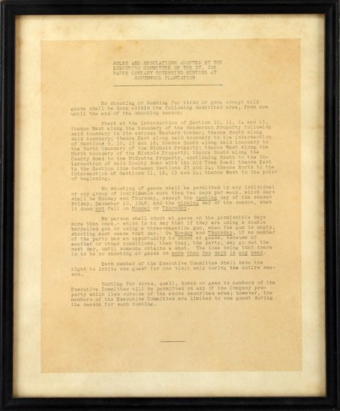 1948 SOUTHWOOD PLANTATION TALLAHASSEE HUNT RULES
