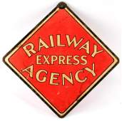 DOUBLE SIDED ORIGINAL RAILWAY EXPRESS AGENCY SIGN