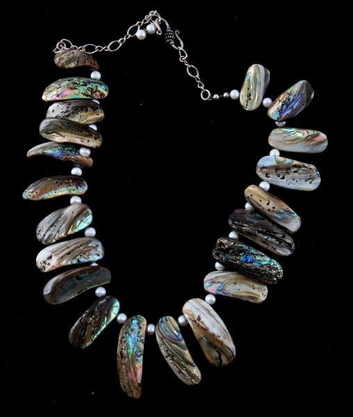 LADIES STERLING NECKLACE WITH ABALONE AND PEARLS