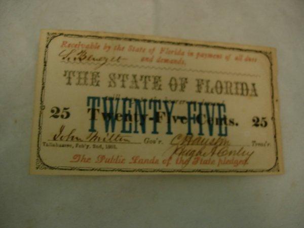 25: FLORIDA CIVIL WAR CONFEDERATE FRACTIONAL NOTE 0.25