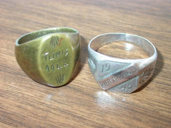19: WWII AFRICA PHILIPPINES SILVER RING LOT 2 TRENCH AR