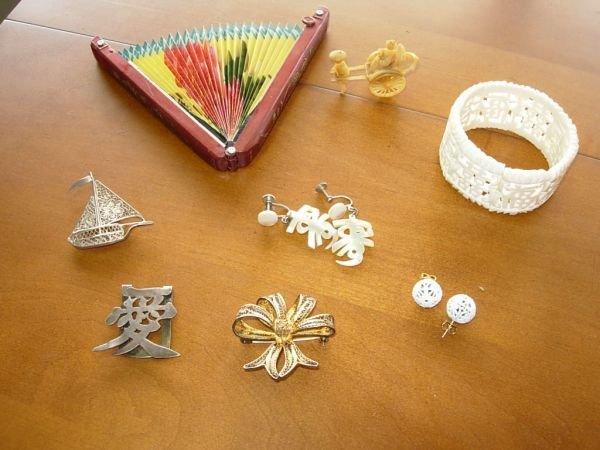 4: SILVER FILIGREE IVORY MOTHER OF PEARL JEWELRY LOT