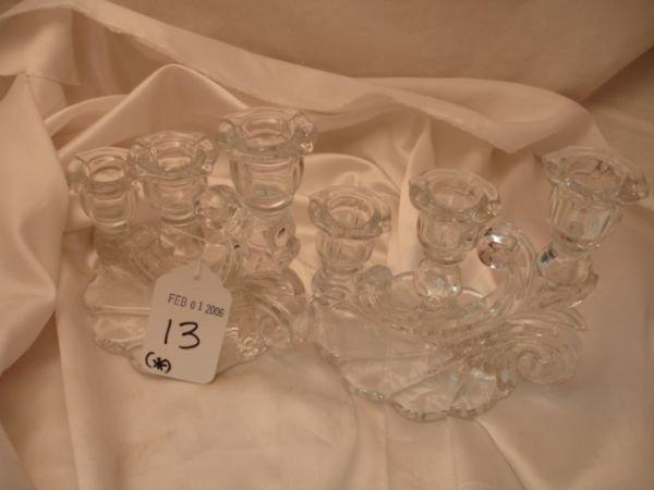 13: 2 CAMBRIDGE OR FOSTORIA GLASS TRIPLE CANDLE HOLDER
