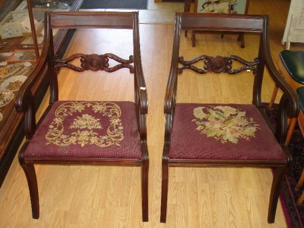 8: ANTIQUE REGENCY MAHOGANY TAPESTRY  SIDE CHAIR PAIR